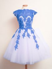 Fashion Scalloped Sleeveless Lace Up Court Dresses for Sweet 16 Blue And White Tulle