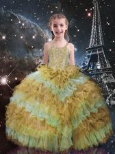 Champagne Sleeveless Organza Lace Up Little Girls Pageant Dress Wholesale for Quinceanera and Wedding Party