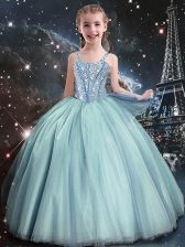 Ball Gowns Flower Girl Dress Teal Straps Tulle Sleeveless Floor Length Lace Up