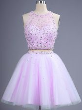 Popular Knee Length Lilac Vestidos de Damas Scoop Sleeveless Lace Up