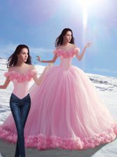 Baby Pink Sleeveless Tulle Brush Train Lace Up Sweet 16 Dress for Military Ball and Sweet 16 and Quinceanera