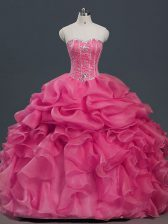 Affordable Beading and Ruffles and Pick Ups Sweet 16 Dress Hot Pink Lace Up Sleeveless Floor Length