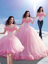 Luxury Baby Pink Off The Shoulder Lace Up Hand Made Flower Quince Ball Gowns Brush Train Sleeveless