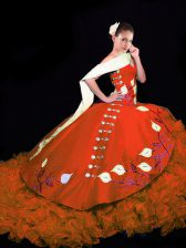 Rust Red V-neck Neckline Embroidery and Ruffles Sweet 16 Quinceanera Dress Sleeveless Lace Up