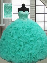 Sexy Sleeveless Fabric With Rolling Flowers Brush Train Lace Up Quinceanera Gown in Turquoise with Beading