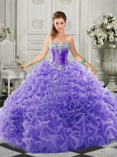 Perfect Sweetheart Sleeveless Quinceanera Gowns Court Train Beading and Ruffles Lavender Organza