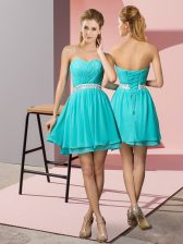 Traditional Sweetheart Sleeveless Lace Up Evening Dress Aqua Blue Chiffon