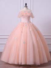 Beauteous Floor Length Peach Sweet 16 Dress Off The Shoulder Short Sleeves Lace Up