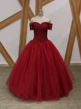 Wine Red Lace Up Off The Shoulder Appliques Prom Dresses Tulle Sleeveless