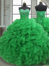 Captivating Green Quinceanera Gown Military Ball and Sweet 16 and Quinceanera with Beading and Ruffles Sweetheart Sleeveless Lace Up
