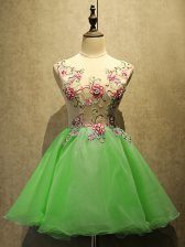 Scoop Sleeveless Lace Up Prom Gown Organza
