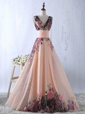 Shining V-neck Sleeveless Homecoming Dress Floor Length Ruching Peach Printed