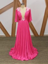 Customized Hot Pink Chiffon Backless Homecoming Dress Half Sleeves Sweep Train Lace and Appliques and Pleated