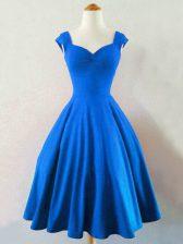 Nice Blue Lace Up Straps Ruching Vestidos de Damas Taffeta Sleeveless