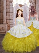 Gold Sleeveless Embroidery and Ruffles Lace Up Pageant Gowns For Girls