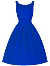 Wonderful Royal Blue Sleeveless Taffeta Lace Up Quinceanera Dama Dress for Prom and Party and Wedding Party