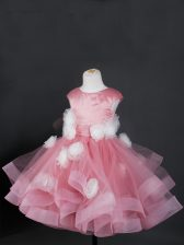 Knee Length Zipper Little Girl Pageant Gowns Pink for Wedding Party with Ruffles and Hand Made Flower