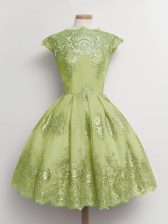 Classical Yellow Green A-line Lace Quinceanera Dama Dress Lace Up Tulle Cap Sleeves Knee Length