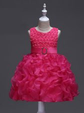 Hot Pink Organza Lace Up Scoop Sleeveless Knee Length Pageant Gowns For Girls Ruffles and Belt