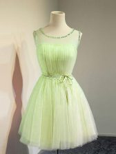 Hot Sale Yellow Green Empire Tulle Scoop Sleeveless Belt Knee Length Lace Up Quinceanera Court Dresses