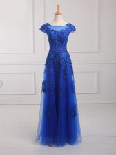 On Sale Royal Blue Tulle Lace Up Scoop Short Sleeves Floor Length Beading and Lace and Appliques