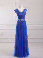 Extravagant Short Sleeves Tulle Floor Length Lace Up Homecoming Dress in Royal Blue with Beading and Lace and Appliques and Belt