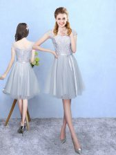 Cap Sleeves Knee Length Lace Lace Up Dama Dress with Silver