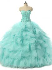 Vintage Tulle Sleeveless Floor Length Quinceanera Dresses and Beading and Ruffles
