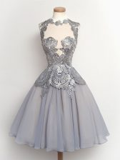 New Style Grey High-neck Neckline Lace Quinceanera Court of Honor Dress Sleeveless Lace Up