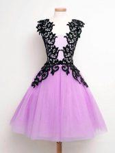 Lilac Straps Lace Up Lace Dama Dress Sleeveless