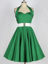 Suitable Green Sleeveless Mini Length Belt Lace Up Dama Dress for Quinceanera