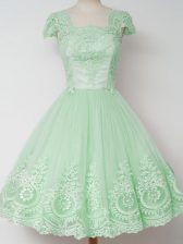 Designer Apple Green Tulle Zipper Quinceanera Court of Honor Dress Cap Sleeves Knee Length Lace