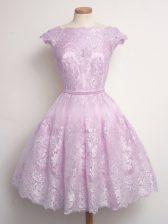 Super Lilac Lace Up Vestidos de Damas Lace Cap Sleeves Knee Length