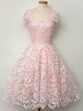 Gorgeous Cap Sleeves Lace Lace Up Quinceanera Dama Dress