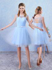 Sleeveless Ruching and Belt Lace Up Damas Dress