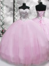 Modern Lilac Quinceanera Gown Tulle Brush Train Sleeveless Beading