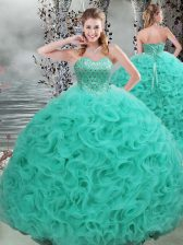 Custom Made Beading 15th Birthday Dress Turquoise Lace Up Sleeveless Brush Train
