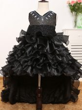 Simple Sleeveless Beading and Ruffles and Bowknot Zipper Little Girls Pageant Dress Wholesale