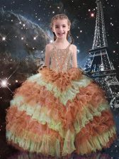 Orange Red Sleeveless Beading and Ruffled Layers Floor Length Little Girls Pageant Dress Wholesale