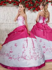 Custom Fit Embroidery and Pick Ups Quinceanera Gown White Lace Up Sleeveless Floor Length