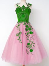 Rose Pink Vestidos de Damas Prom and Party and Wedding Party with Appliques Straps Long Sleeves Lace Up
