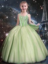 Ball Gowns Tulle Straps Sleeveless Beading Floor Length Lace Up Flower Girl Dresses