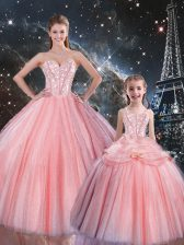 Custom Design Ball Gowns Sweet 16 Dresses Pink Sweetheart Tulle Sleeveless Floor Length Lace Up
