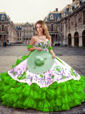 Superior Floor Length Green Ball Gown Prom Dress Sweetheart Sleeveless Lace Up