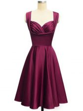 Knee Length Lace Up Vestidos de Damas Burgundy for Prom and Party and Wedding Party with Ruching