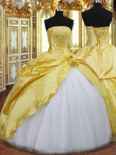 Floor Length Ball Gowns Sleeveless Gold Quinceanera Gown Lace Up