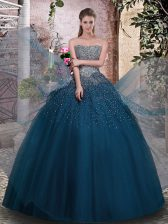 Modest Teal Ball Gowns Beading Ball Gown Prom Dress Lace Up Tulle Sleeveless Floor Length
