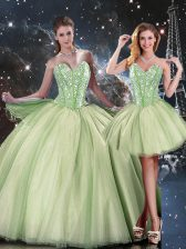 Fantastic Ball Gowns Sweet 16 Quinceanera Dress Yellow Green Sweetheart Tulle Sleeveless Floor Length Lace Up