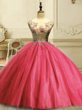 Admirable Coral Red Scoop Neckline Appliques and Sequins Ball Gown Prom Dress Sleeveless Lace Up