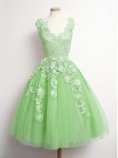 Yellow Green A-line Tulle V-neck Sleeveless Appliques Knee Length Lace Up Dama Dress